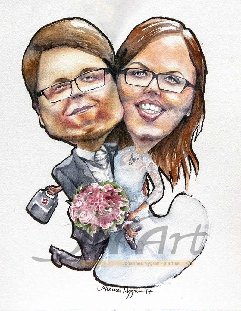 Caricature wedding couple