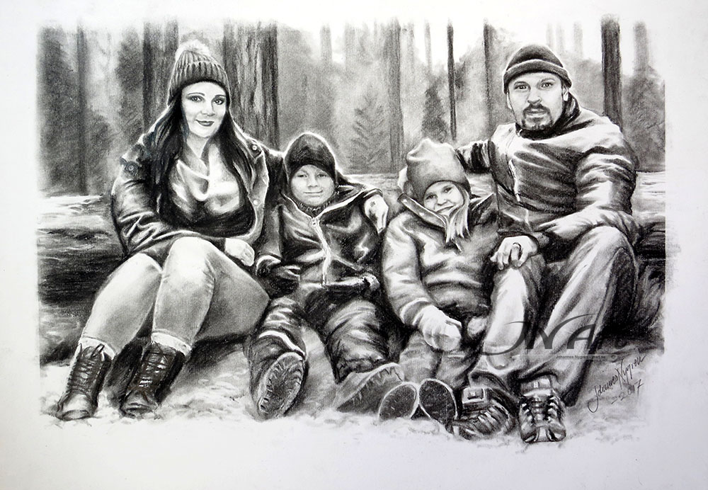 Family portrait in charcoal