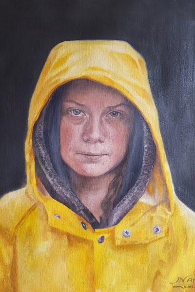 Greta Thurnberg oljemålning l